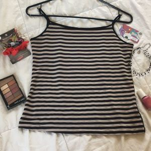 Tops - Spaghetti straps black and beige striped top